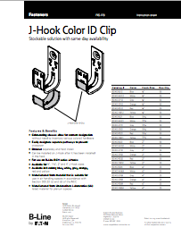 b-line colored j-hook instruction sheet