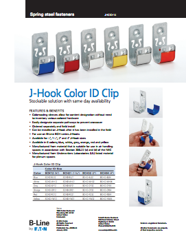 b-line colored j-hook product flyer