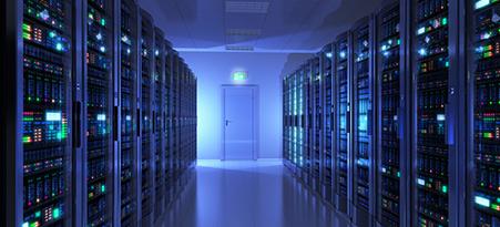 data center aisle blue lit2