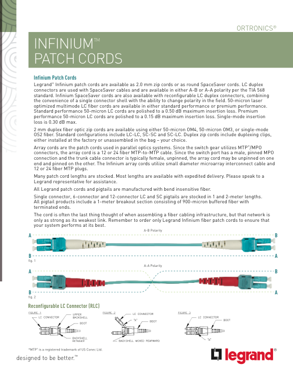 Legrand_Infinium_Patch_Cords_Information