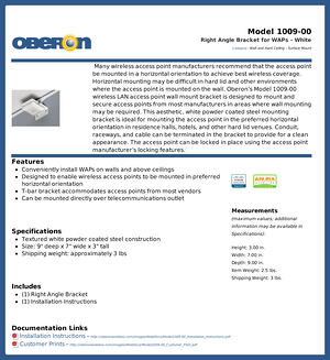 Oberon Expands Line Of Right Angle Brackets For Waps