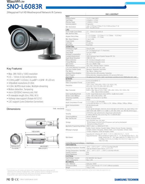 SNO-L6083R_Specifications