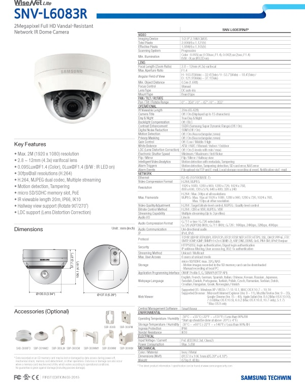 SNV-L6083R_Specifications